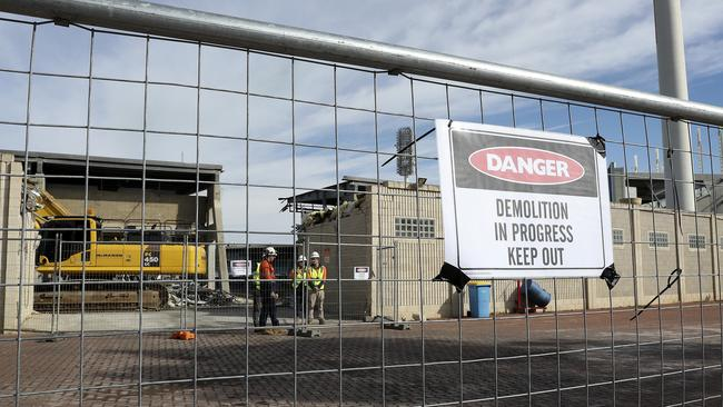 Major demolition at Football Park has begun. Picture: Sarah Reed <br />