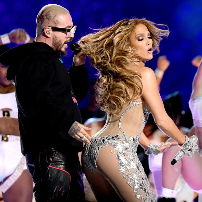 Balvin (L) and Jennifer Lopez perform onstage. Picture: Kevin Winter/Getty Images/AFP
