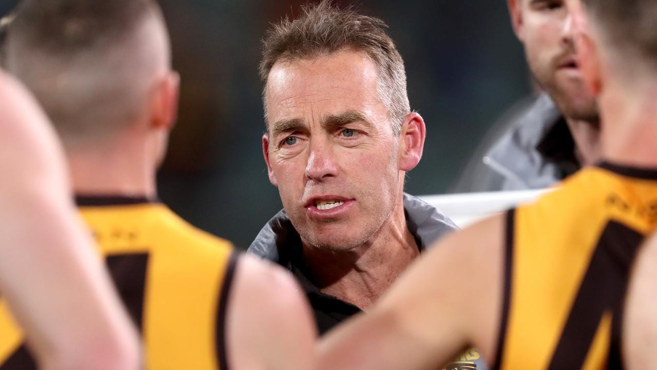 Alastair Clarkson's Hawks went down to the Crows on Tuesday (Photo by James Elsby/AFL Photos via Getty Images).