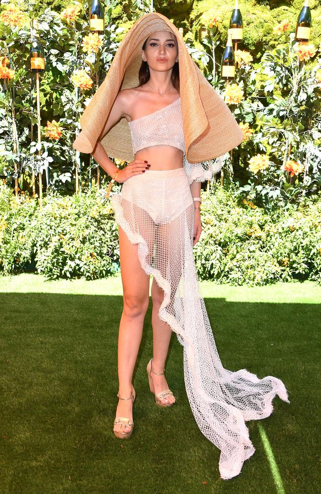 Megan Pormer decided to throw out the fashion rule book when she attended the 10th Annual Veuve Clicquot Polo Classic in Los Angeles on Saturday. Picture: Steve Granitz/WireImage