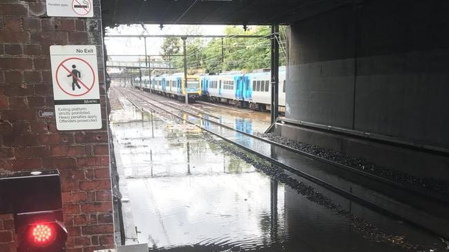 Trains were delayed after flash flooding between Burnley and Camberwell stations. Picture: Twitter/@mcpherson_sm