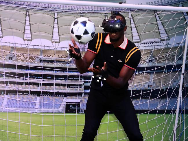 Usain Bolt might have a better shot in goals.