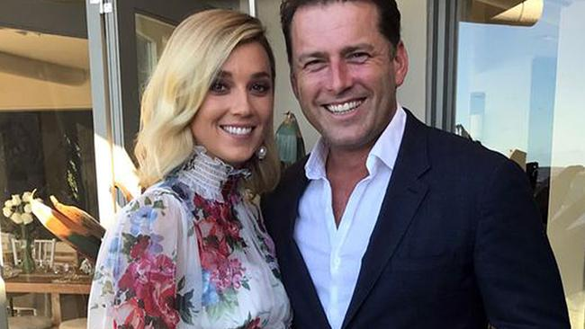 Jasmine Yarbrough and Karl Stefanovic pictured together at their commitment ceremony.