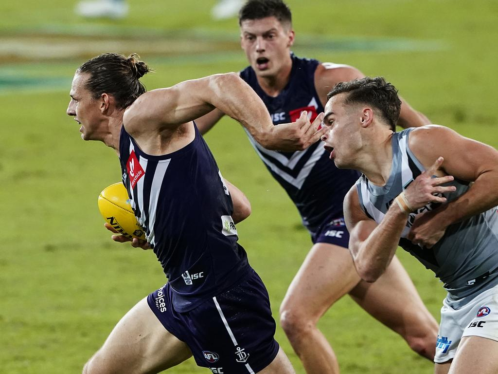 Nat Fyfe led from the front for the Dockers. Picture: Dave Hunt