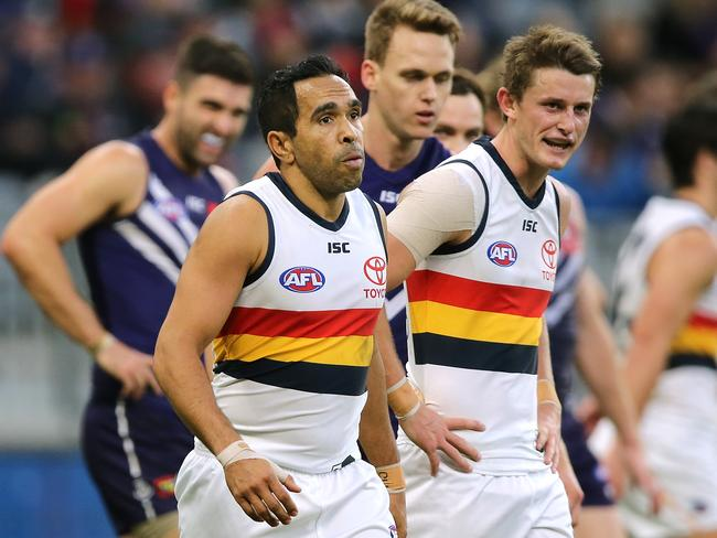 Eddie Betts and Matt Crouch after the Crows loss to Fremantle.