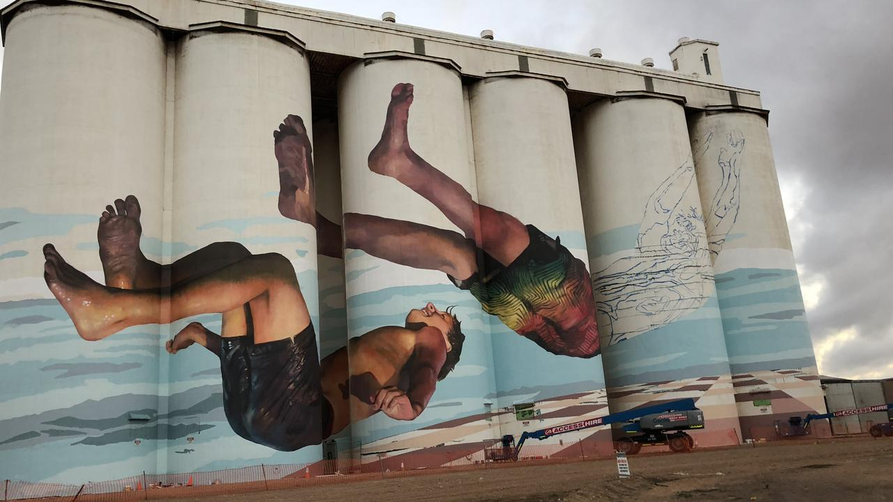 The mural at Tumby Bay, WA, while it was being painted. Picture: Dion Lebrun