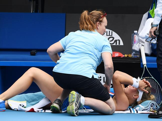 Dayana Yastremska called for treatment but Wozniacki wasn't so sure it was needed.