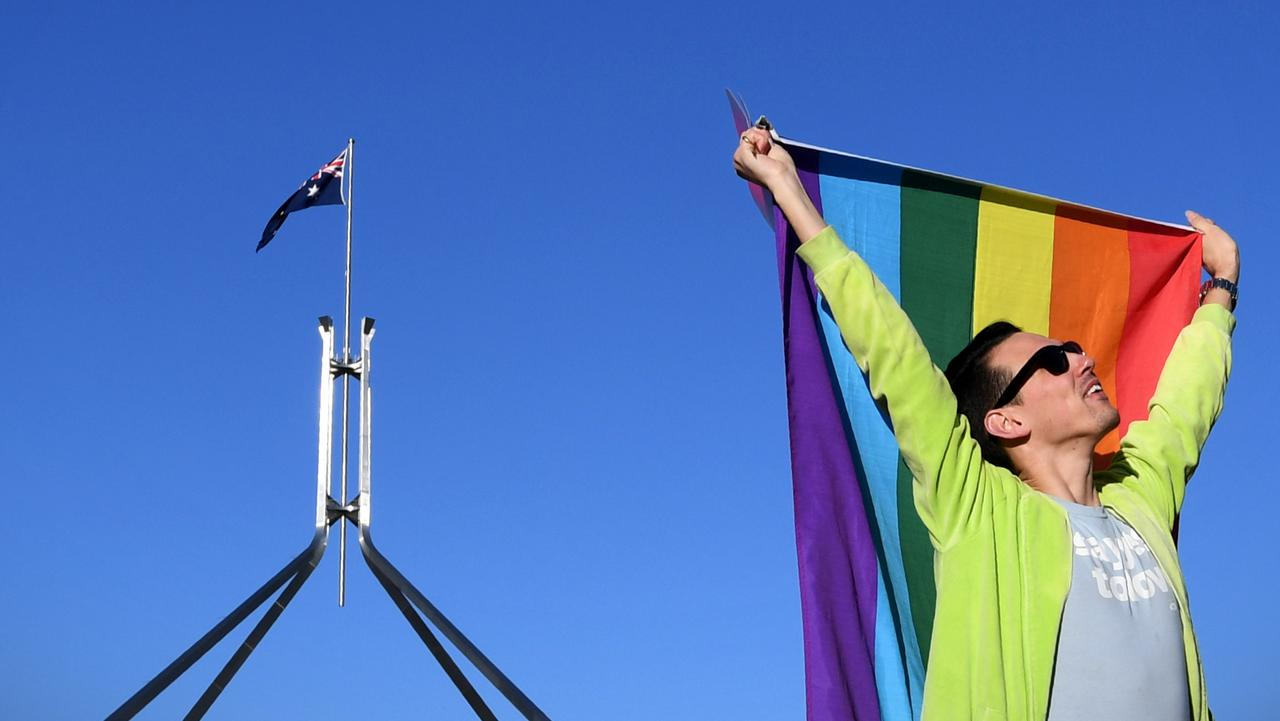 Marriage equality advocate Russell Nankervis outside Parliament House in Canberra. Picture: AAP