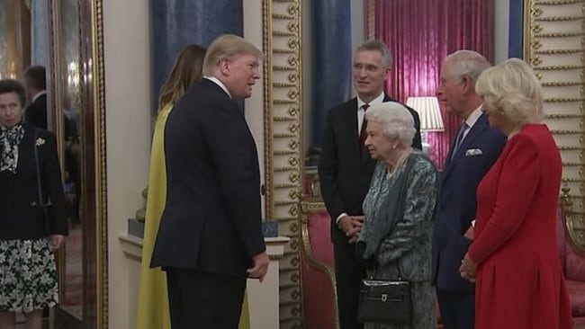 Anne looks on as the Queen greets the Trumps alongside Prince Charles and Camilla. Picture: YouTube