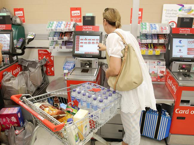 Customers using the self-serve checkout at Coles will have to restrict their purchases to just 12 items. Picture: Mark Scott.