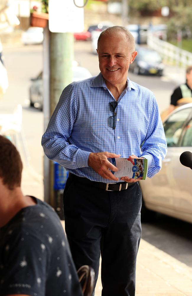 Out and about ... other rumoured challenger Malcolm Turnbull spent the weekend pressing the flesh with voters in Sydney.