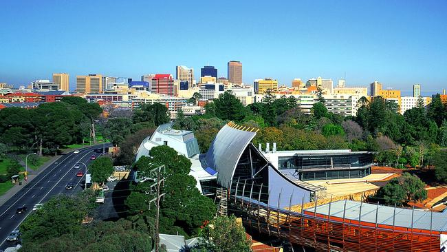 Adelaide in 2001, with the newly completed National Wine Centre in the foreground.