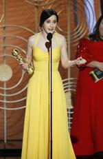 Rachel Brosnahan from The Marvelous Mrs. Maisel accepts the Best Performance by an Actress in a Television Series Musical or Comedy award onstage during the 76th Annual Golden Globe Awards. Picture: Getty