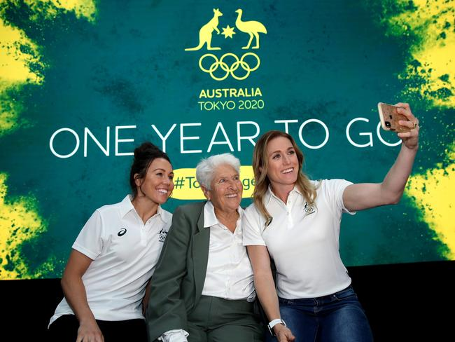 Sally Pearson poses with Chloe Esposito and Dawn Fraser at a promotional event last month. Picture. Phil Hillyard