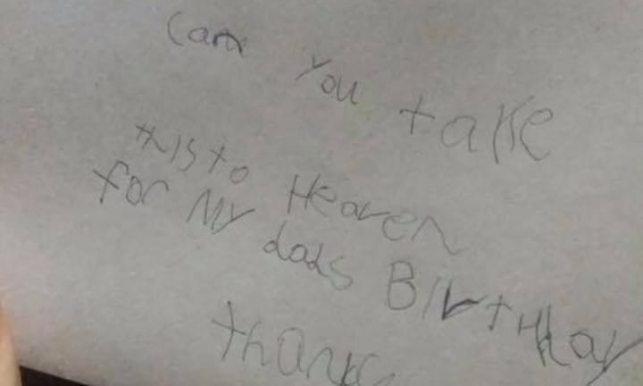 7-year-old sends letter to dad in heaven, gets heart-melting reply