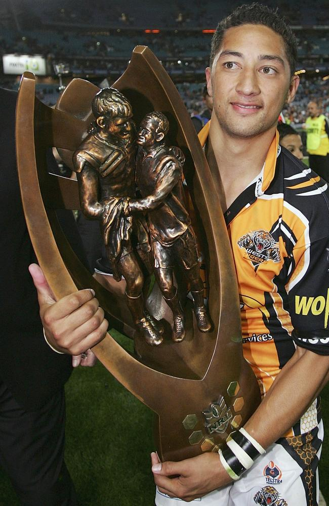 Benji Marshall after the 2005 NRL grand final win over the Cowboys