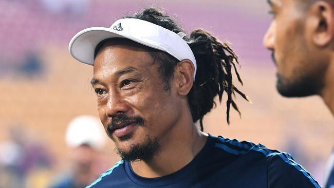 Blues coach Tana Umaga smiles after winning the Brisbane Tens title.