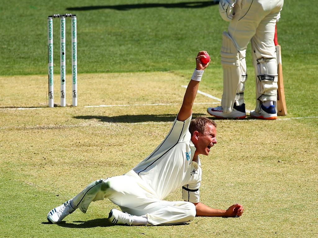 Neil Wagner celebrates his stunning return catch.