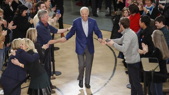 Democratic presidential candidate former vice president Joe Biden and his wife Jill Biden at the event in Manchester, New Hampshire. Picture: Pablo Martinez Monsivais/AP