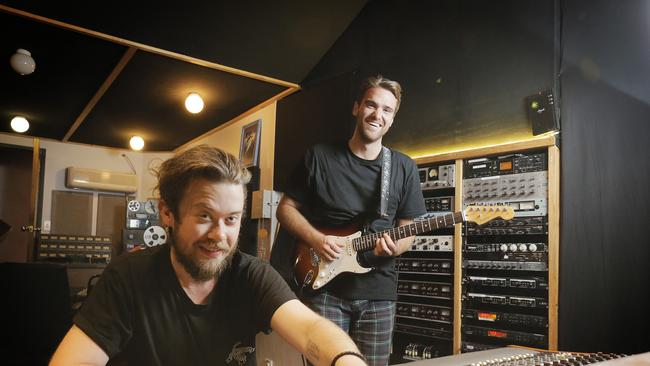 Nick Balcombe Foundation award recipient Hugo Bladel, right, at Red Planet Recording with producer Cal Young. Hugo has won four days of recording at Red Planet courtest of the Nick Balcombe Foundation. Picture: MATHEW FARRELL