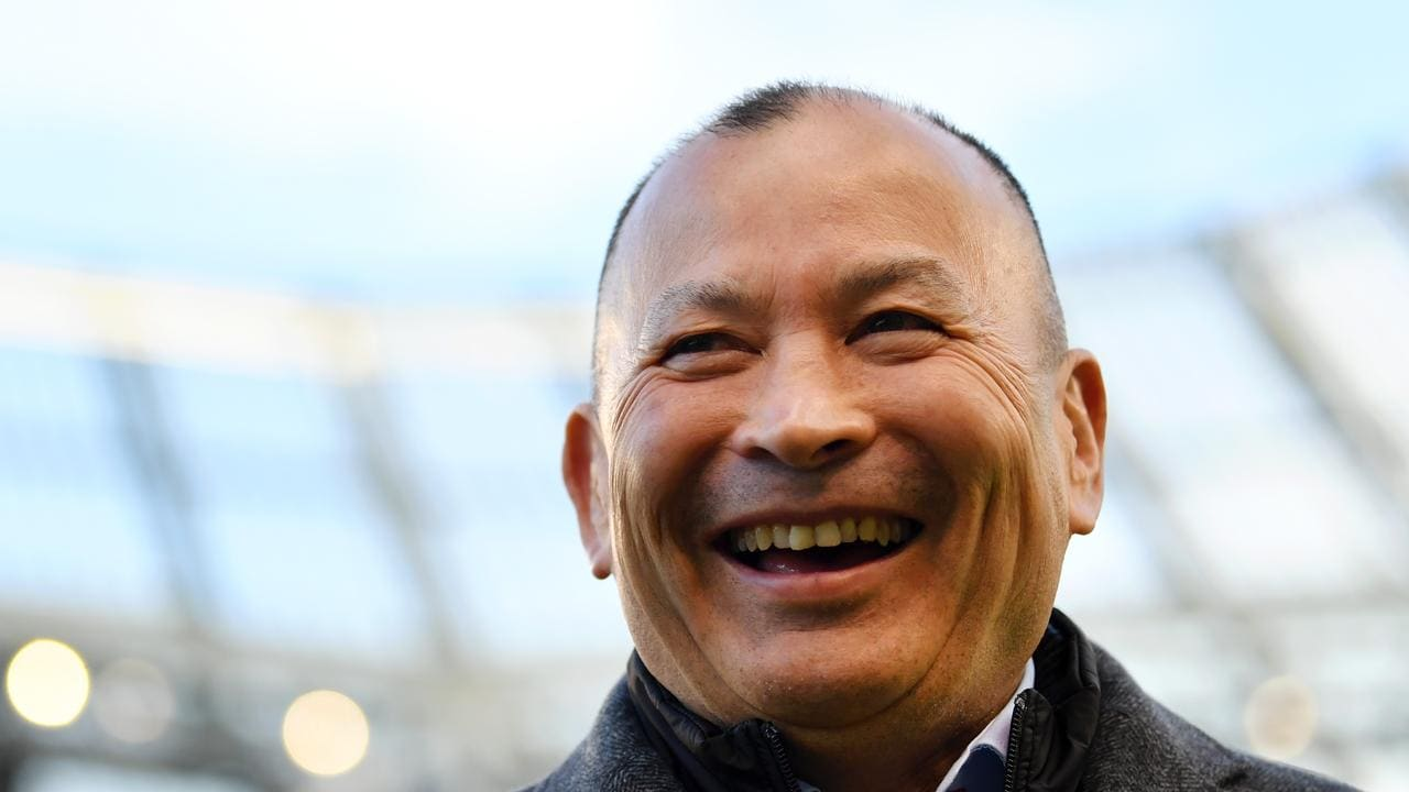 Jones enjoys a good laugh, even here prior to the Six Nations.