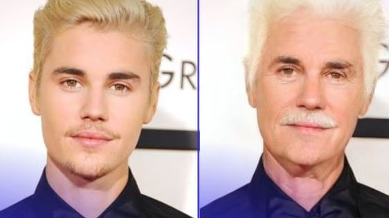 A number of celebrities have shared their future selves via Face App.