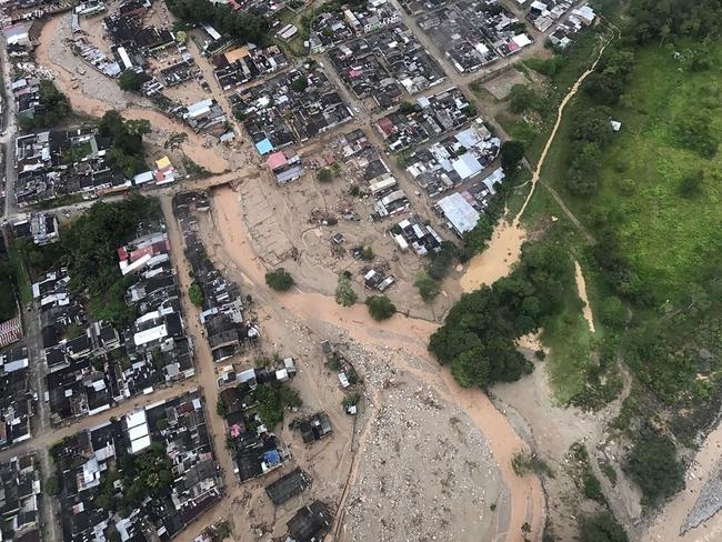 An aerial view of mudslides caused heavy rains, in Mocoa. Picture: AFP