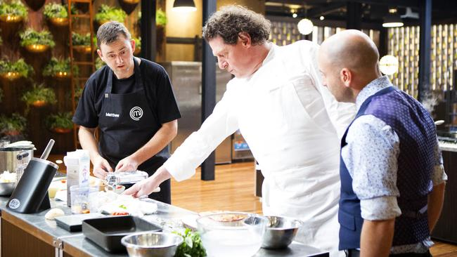 Picky...Matthew Hopcraft quizzed by Marco Pierre White and George Calombaris. Picture: Channel 10