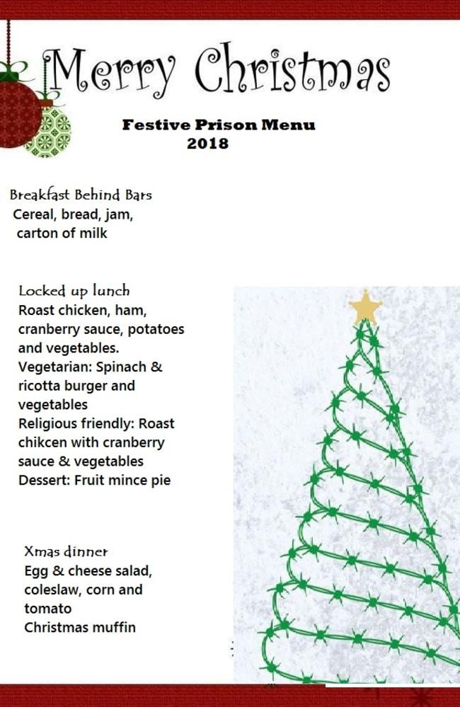 Mock up of what will actually be served on the Xmas menu for the NSW correctional system.