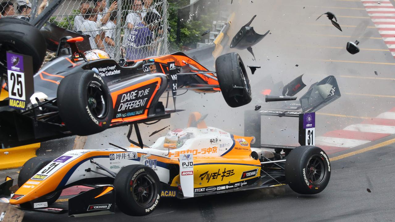 Sophia Florsch flew through the air at 175mph after a collision in the Macau Grand Prix.