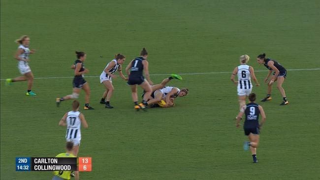 A Collingwood player dived on the ball but no free kick was paid.