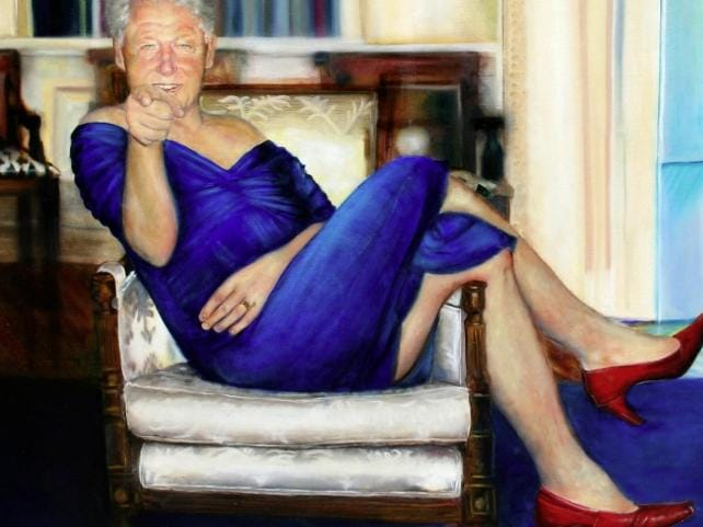 The painting of Bill Clinton found inside the home of Jeffrey Epstein. Picture: Supplied