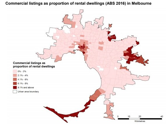 Melbourne's commercial Airbnb listings at March 2018, compared to rental dwellings (based on the 2016 census). Picture: Australian Housing and Urban Research Institute
