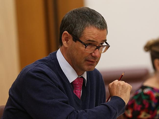 Stephen Conroy at a Senate Environment and Communications Legislation Committee at Parliament House in Canberra.