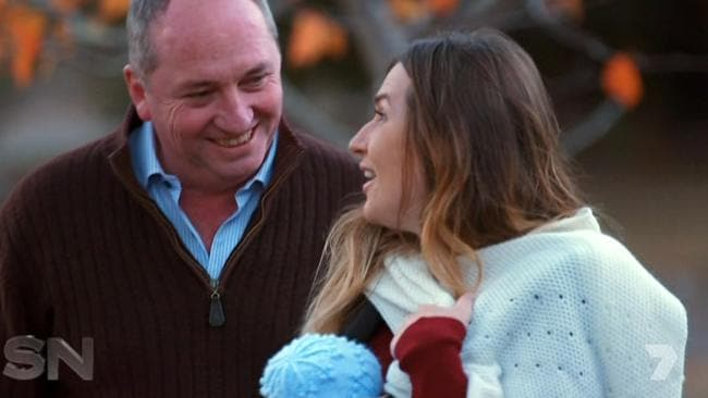 Vikki Campion and Barnaby Joyce during their first interview. Picture: Channel 7
