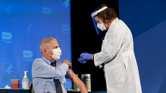 Dr Fauci received his first dose of the coronavirus vaccine in December. Picture: Patrick Semansky/AFP