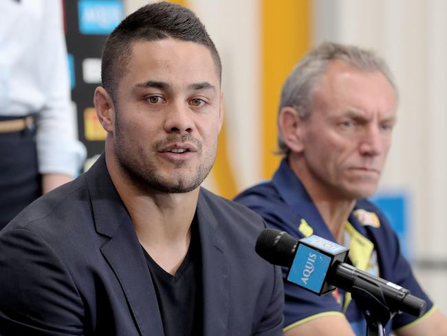 Jarryd Hayne and Neil Henry at his Titans unveiling.