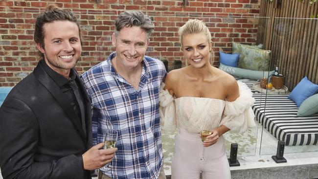 The Block stars Josh and Elyse with Dave Hughes, who bought the house they renovated.