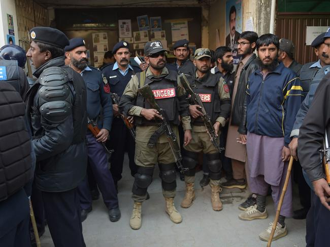 Heavily armed Pakistani security personnel cordon off a court building during last Thursday's hearing for the alleged mastermind of the Mumbai terror attacks, Zaki-ur-Rehman Lakhvi, who is facing abduction charges.