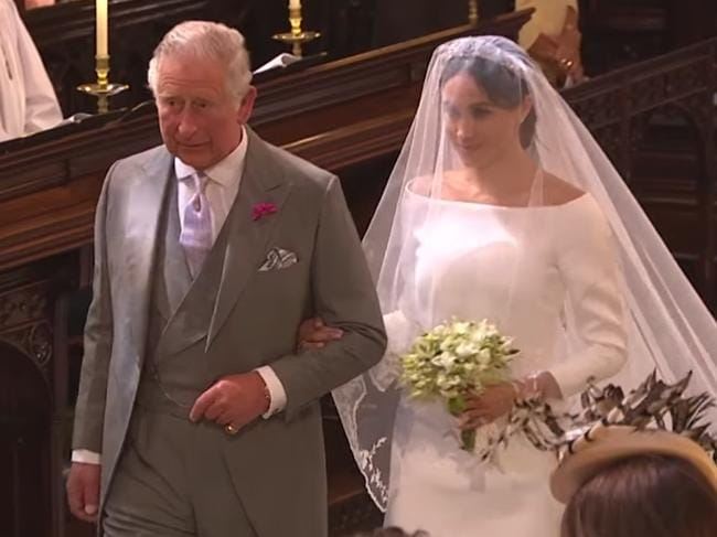 Prince Charles stepped up during the royal wedding to walk Meghan Markle down the aisle. Picture: BBC