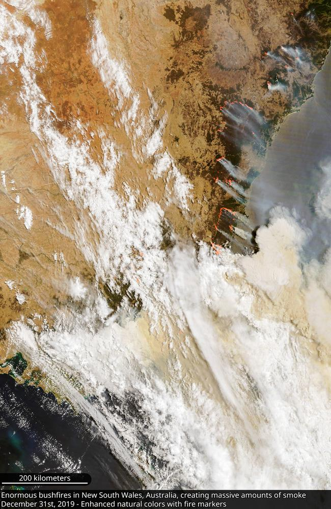 Two major fires are burning either side of the NSW-Victoria border. Picture: Copernicus EMS/Twitter