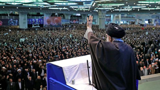 The last time Khamenei led Friday prayers at Tehran's Mosalla mosque was in February 2012, on the 33rd anniversary of the Islamic revolution and at a time of crisis over the Iran nuclear issue. Picture: Ho/Khamenei.Ir/AFP