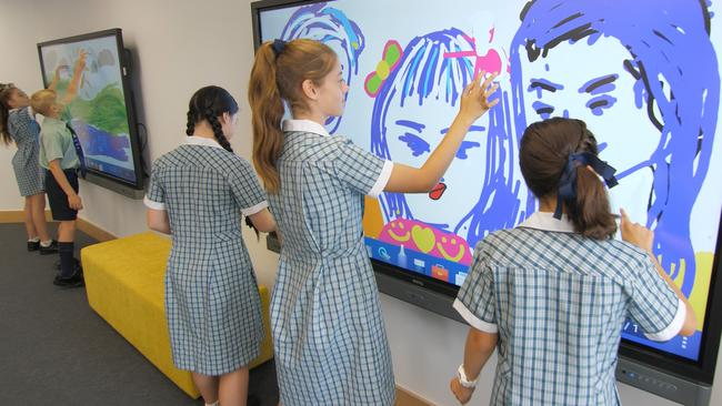 The students can work individually or as a team within the interactive pod.