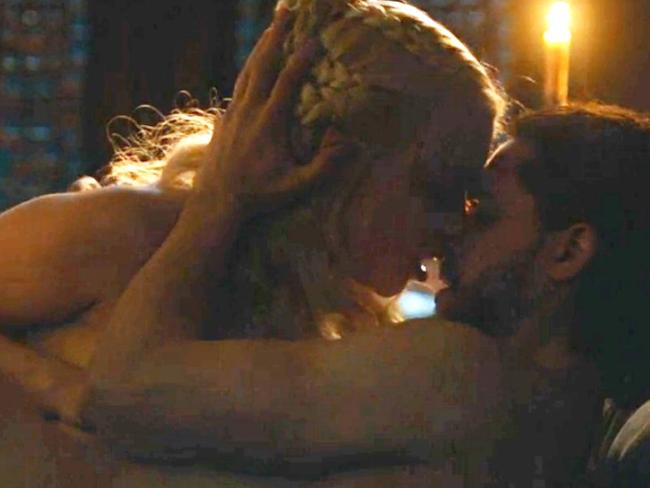 Jon Snow and Daenarys' sex scene in Game of Thrones. Picture: HBO