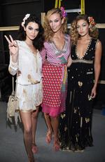 Ready, set ... Kendall Jenner, Karlie Kloss, and Gigi Hadid pose backstage at Diane Von Furstenberg Spring 2016 fashion show during New York Fashion Week. Picture: Getty