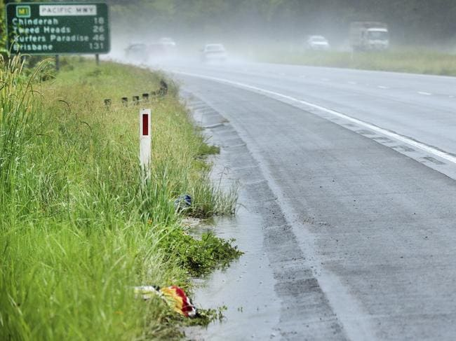 The crash site on the Pacific Motorway. Picture: Scott Powick