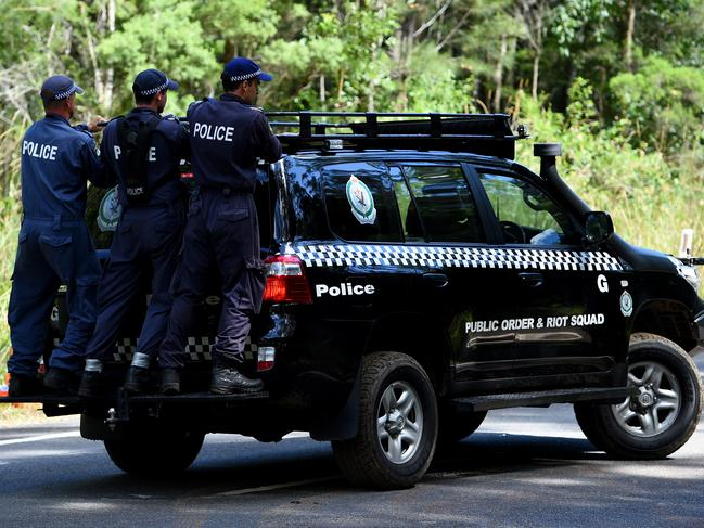 NSW Public Order and Riot Squad Police search near Bonny Hills on the NSW Mid North Coast for William. Picture: Dan Himbrechts.