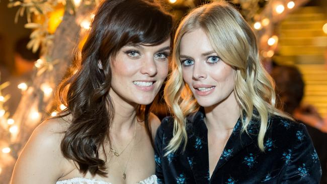 SMILF star and creator Frankie Shaw, left, with actress Samara Weaving at an October 2017 party. Picture: Getty
