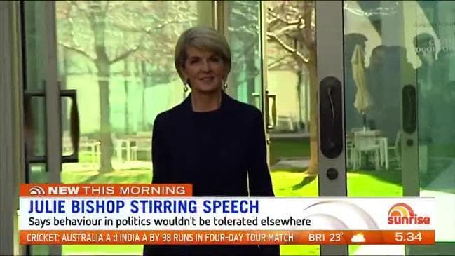 Julie Bishop has blasted her colleagues' appalling behaviour during the Liberal leadership spill ( Sunrise )