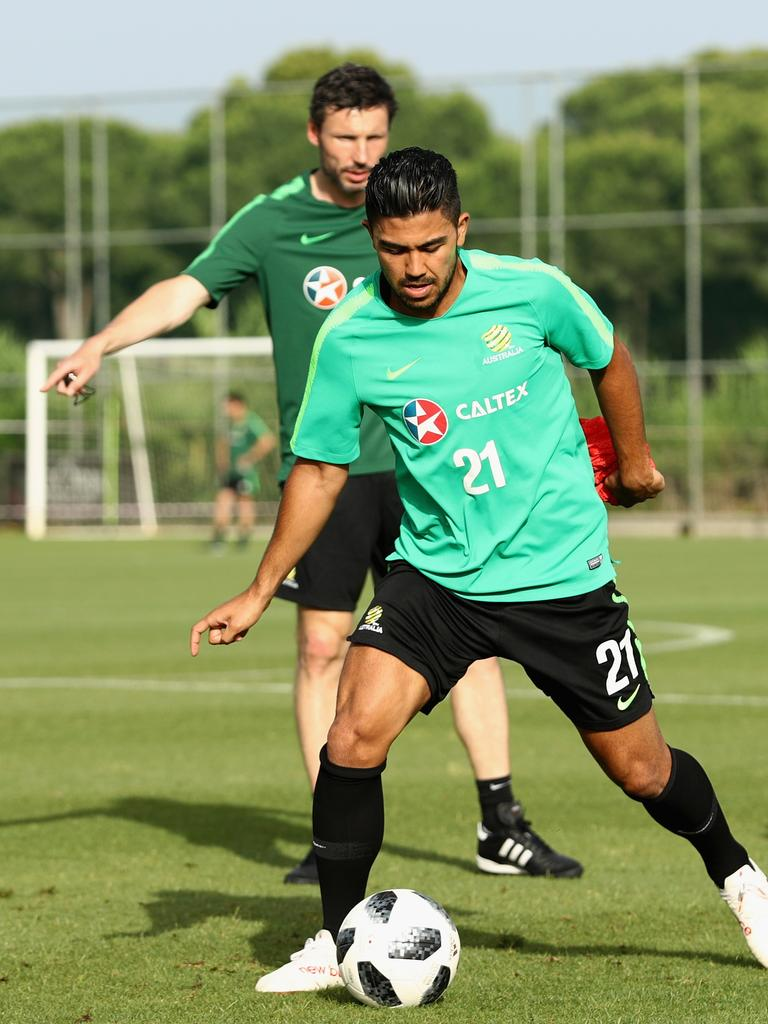 Massimo Luongocontrols the ball at the Socceroos pre-World Cup training camp in Antalya, Turkey